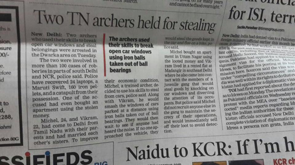 Two TN Archers held for stealing